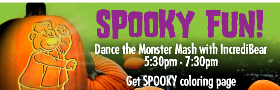Spooky Fun! Dance the Monster Mash with IncrediBear 5:30pm • 7:30pm