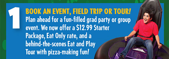 We now offer a 12.99 Starter Package, Eat Only rate, and a behind the scenes Eat and Play Tour with pizza making fun.