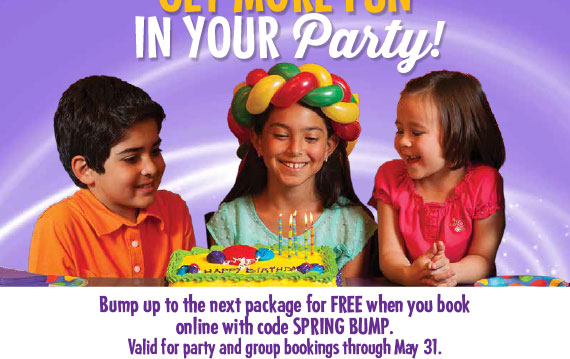Bump up to the next pkg for FREE when you book online with code SPRING BUMP. Valid for party and group bookings thru May 31.