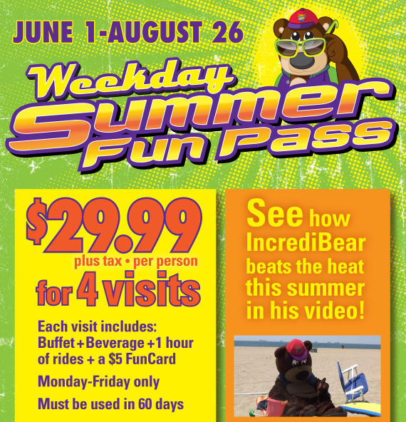 Weekend Summer Fun Pass•June 1-August 26•$29.99 plus tax, per person for 4 visits. Each visit includes: Buffet+Beverage+1 hour of rides+a $5 FunCard. Monday-Friday only. Must be used in 60 days. See how IncrediBear beats the heat this summer in his video!
