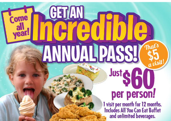 Get an Annual Pass! $60 per person. 1 visit per month for 12 months. Includes All You Can Eat Buffet & unlimited beverages. That's $5 a visit!